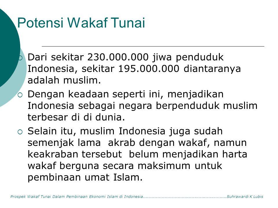 Potensi Wakaf Tunai  Dari sekitar 230.000.000 jiwa penduduk Indonesia, sekitar 195.000.000 diantaranya adalah muslim.  Dengan keadaan seperti ini, m