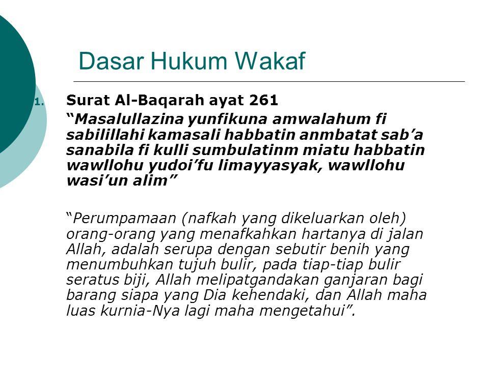 "Dasar Hukum Wakaf 1. Surat Al-Baqarah ayat 261 ""Masalullazina yunfikuna amwalahum fi sabilillahi kamasali habbatin anmbatat sab'a sanabila fi kulli su"