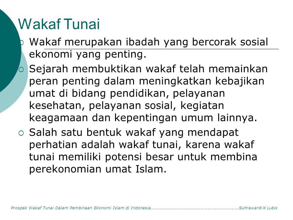 Wakaf Tunai  Wakaf merupakan ibadah yang bercorak sosial ekonomi yang penting.  Sejarah membuktikan wakaf telah memainkan peran penting dalam mening