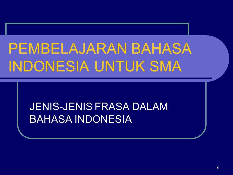 1 PEMBELAJARAN BAHASA INDONESIA UNTUK SMA JENIS-JENIS FRASA DALAM BAHASA INDONESIA