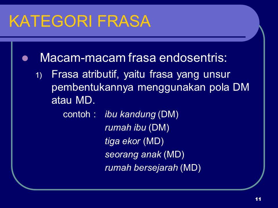 11 KATEGORI FRASA Macam-macam frasa endosentris: 1) Frasa atributif, yaitu frasa yang unsur pembentukannya menggunakan pola DM atau MD. contoh :ibu ka