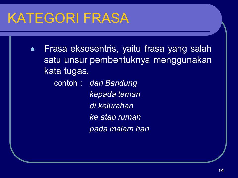 14 KATEGORI FRASA Frasa eksosentris, yaitu frasa yang salah satu unsur pembentuknya menggunakan kata tugas. contoh :dari Bandung kepada teman di kelur