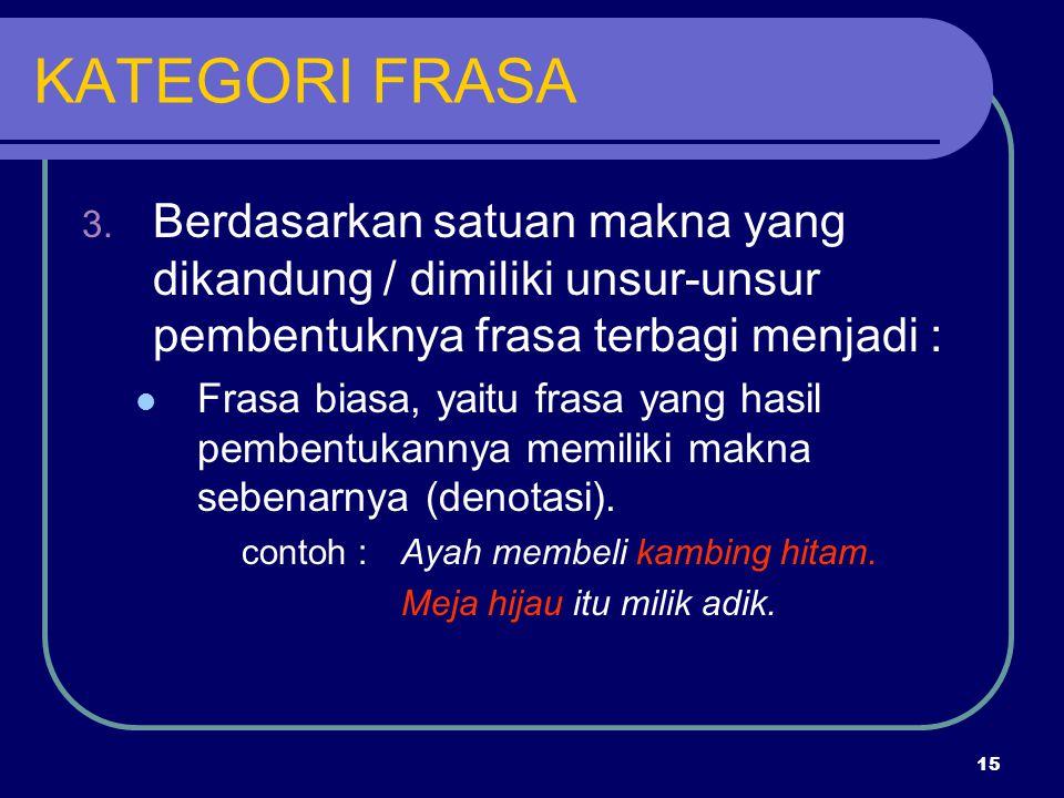 15 KATEGORI FRASA 3. Berdasarkan satuan makna yang dikandung / dimiliki unsur-unsur pembentuknya frasa terbagi menjadi : Frasa biasa, yaitu frasa yang
