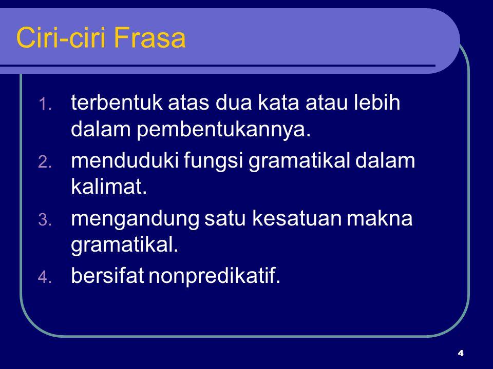 4 Ciri-ciri Frasa 1. terbentuk atas dua kata atau lebih dalam pembentukannya. 2. menduduki fungsi gramatikal dalam kalimat. 3. mengandung satu kesatua