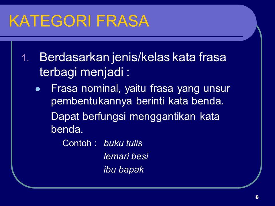 6 KATEGORI FRASA 1. Berdasarkan jenis/kelas kata frasa terbagi menjadi : Frasa nominal, yaitu frasa yang unsur pembentukannya berinti kata benda. Dapa