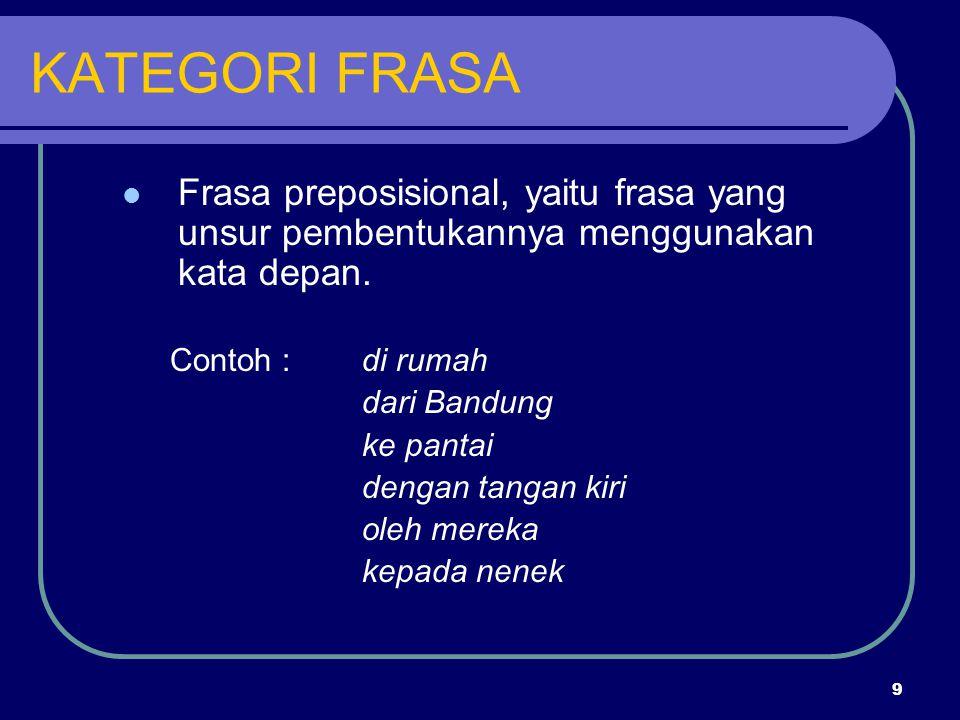 9 KATEGORI FRASA Frasa preposisional, yaitu frasa yang unsur pembentukannya menggunakan kata depan. Contoh :di rumah dari Bandung ke pantai dengan tan