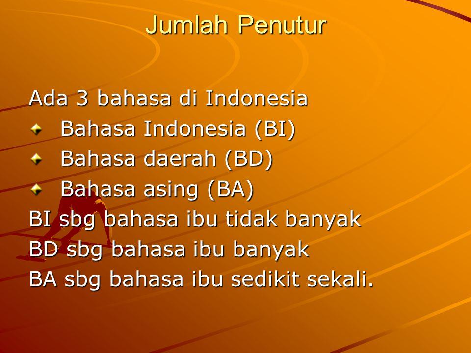Penutur BI 1.BI sbg bahasa ibu tidak banyak: Sepanjang pantai timur Indonesia Pantai barat bagian selatan Indo.