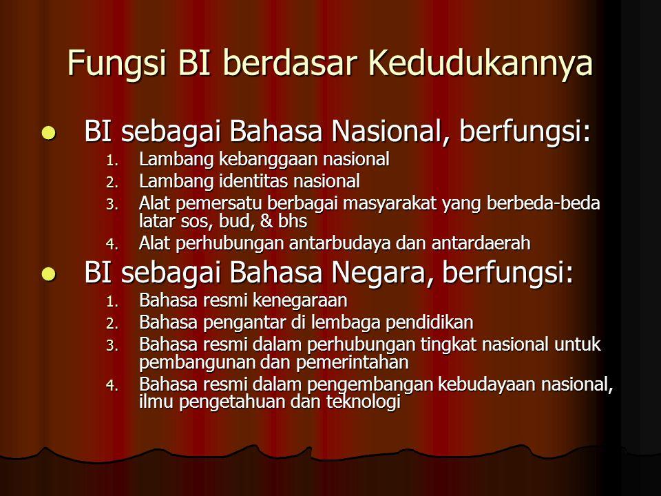 Fungsi BI berdasar Kedudukannya BI sebagai Bahasa Nasional, berfungsi: BI sebagai Bahasa Nasional, berfungsi: 1. Lambang kebanggaan nasional 2. Lamban