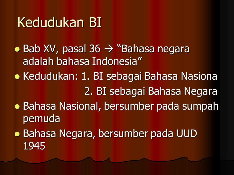 """Kedudukan BI Bab XV, pasal 36  """"Bahasa negara adalah bahasa Indonesia"""" Bab XV, pasal 36  """"Bahasa negara adalah bahasa Indonesia"""" Kedudukan: 1. BI se"""