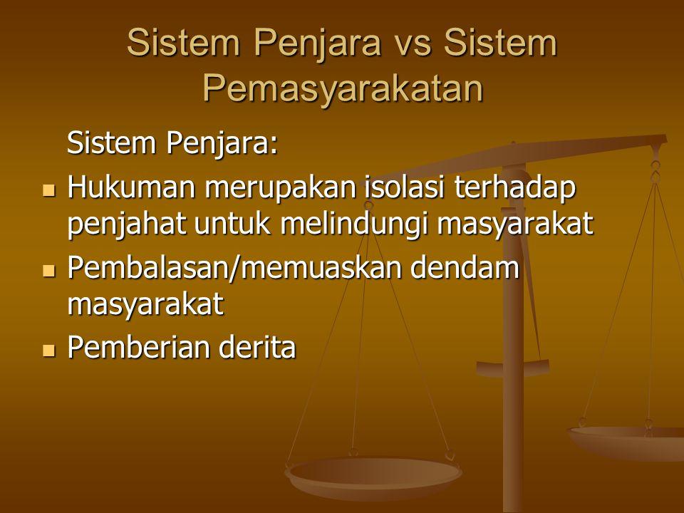 Sistem Penjara vs Sistem Pemasyarakatan Sistem Penjara: Hukuman merupakan isolasi terhadap penjahat untuk melindungi masyarakat Hukuman merupakan isol