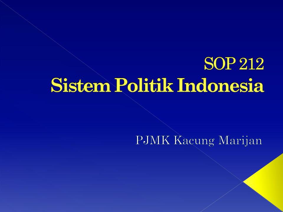 Sistem Politik Indonesia merupakan mata kuliah dasar yang diajarkan kepada para mahasiswa semester dua atau tiga.