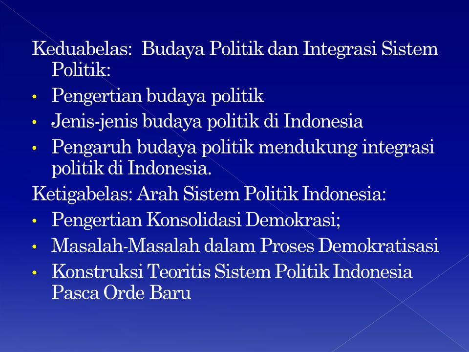 Keduabelas: Budaya Politik dan Integrasi Sistem Politik: Pengertian budaya politik Jenis-jenis budaya politik di Indonesia Pengaruh budaya politik mendukung integrasi politik di Indonesia.