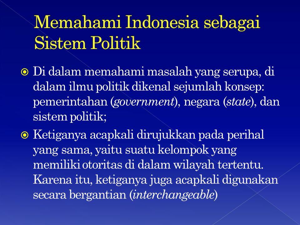  Di dalam memahami masalah yang serupa, di dalam ilmu politik dikenal sejumlah konsep: pemerintahan ( government ), negara ( state ), dan sistem politik;  Ketiganya acapkali dirujukkan pada perihal yang sama, yaitu suatu kelompok yang memiliki otoritas di dalam wilayah tertentu.