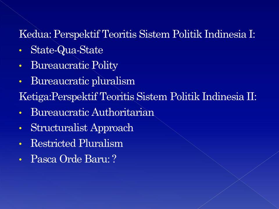 Kedua: Perspektif Teoritis Sistem Politik Indinesia I: State-Qua-State Bureaucratic Polity Bureaucratic pluralism Ketiga:Perspektif Teoritis Sistem Po