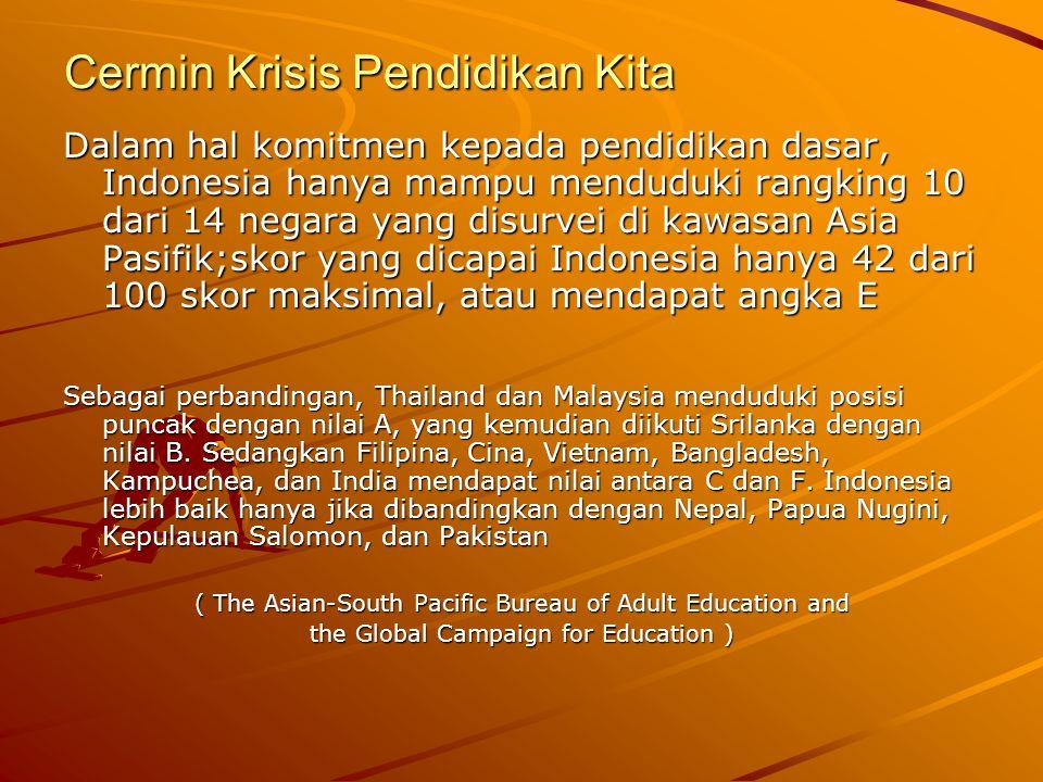 Cermin Krisis Pendidikan Kita Indonesia mendapatkan nilai terendah dalam hal komitmen kebijakan dan tindakan pemerintah menghapuskan biaya bagi pendidikan dasar; Survey Bank Dunia thn 2004 di 76 negara