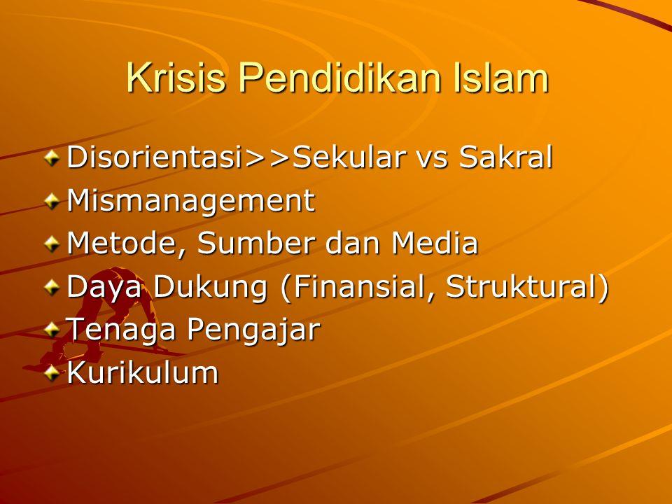 Krisis Pendidikan Islam Disorientasi>>Sekular vs Sakral Mismanagement Metode, Sumber dan Media Daya Dukung (Finansial, Struktural) Tenaga Pengajar Kur