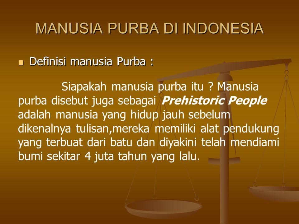MANUSIA PURBA DI INDONESIA Definisi manusia Purba : Definisi manusia Purba : Siapakah manusia purba itu ? Manusia purba disebut juga sebagai Prehistor