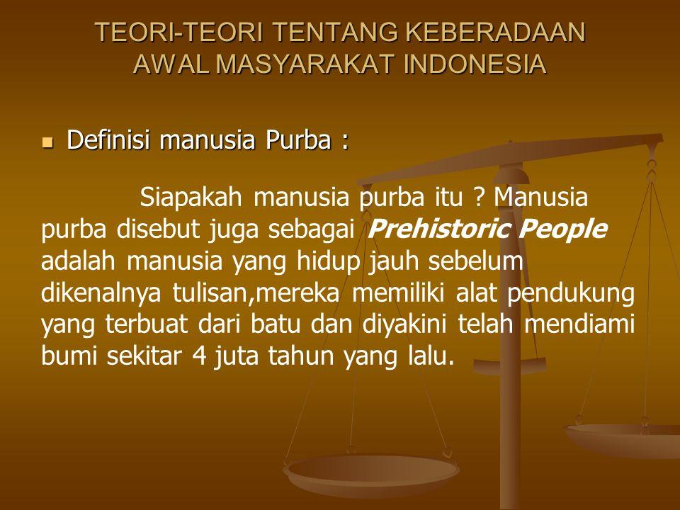 TEORI-TEORI TENTANG KEBERADAAN AWAL MASYARAKAT INDONESIA Definisi manusia Purba : Definisi manusia Purba : Siapakah manusia purba itu ? Manusia purba