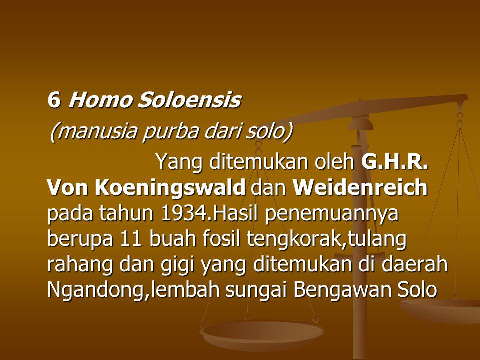 6 Homo Soloensis 6 Homo Soloensis (manusia purba dari solo) (manusia purba dari solo) Yang ditemukan oleh G.H.R. Von Koeningswald dan Weidenreich pada
