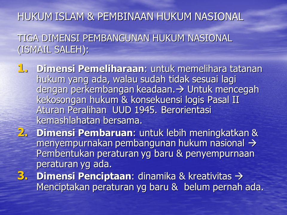 HUKUM ISLAM & PEMBINAAN HUKUM NASIONAL TIGA WAWASAN NASIONAL (ISMAIL SALEH): 1.