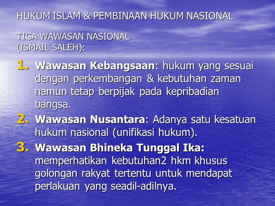 HUKUM ISLAM & PEMBINAAN HUKUM NASIONAL TIGA WAWASAN NASIONAL (ISMAIL SALEH): 1. Wawasan Kebangsaan: hukum yang sesuai dengan perkembangan & kebutuhan