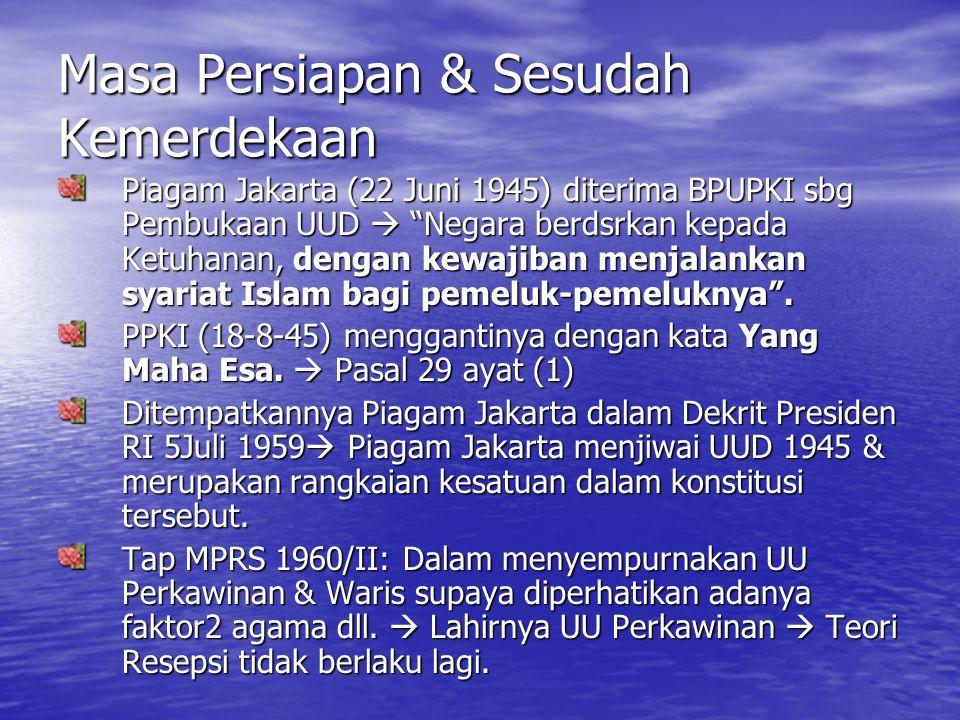 Perkembangan Pengadilan Agama di Indonesia (1) Masa permulaan Islam datang ke Indonesia  sengketa antara pemeluk Islam diselesaikan oleh org yg mempunyai ilmu pengetahuan keislaman (tahkim).