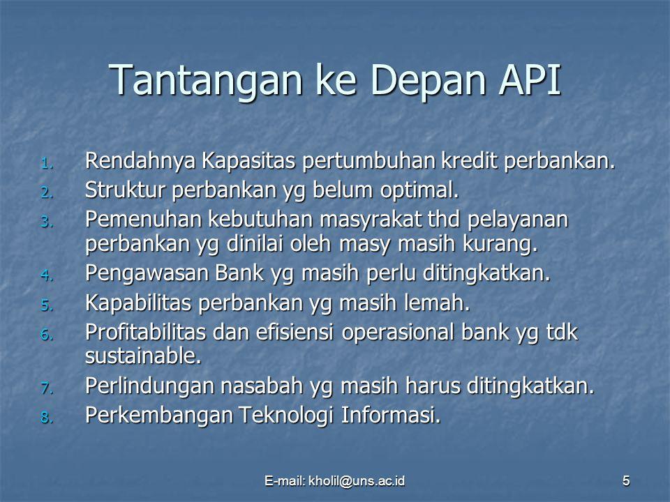 E-mail: kholil@uns.ac.id5 Tantangan ke Depan API 1. Rendahnya Kapasitas pertumbuhan kredit perbankan. 2. Struktur perbankan yg belum optimal. 3. Pemen