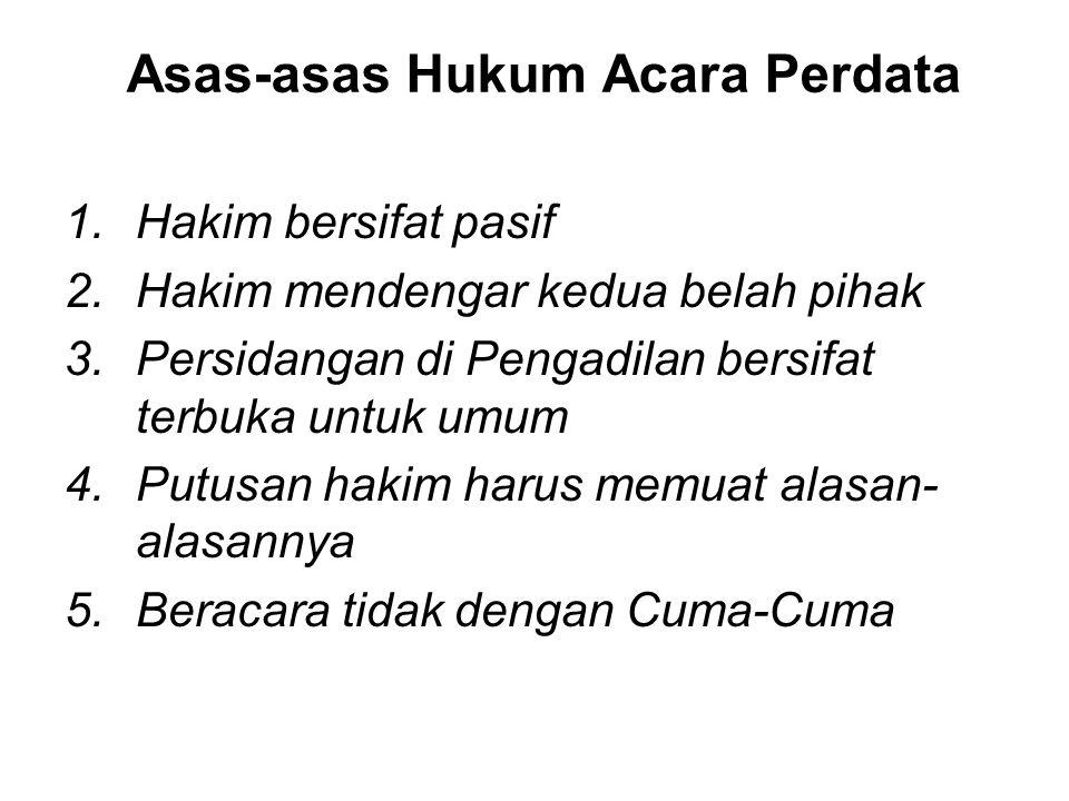 Sumber Hukum Acara Perdata 1.Reglement Hukum Acara Perdata, yang berlaku bagi golongan Eropah di Jawa dan Madura (Reglement op de burgerlijke rechtsvo