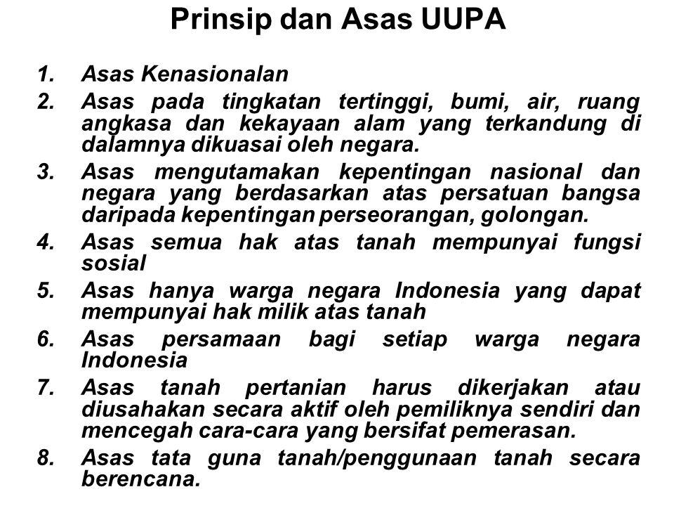 Tujuan UUPA 1.Meletakkan dasar-dasar bagi penyusunan hukum agraria nasional, yang akan merupakan alat untuk membawakan kemakmuran, kebahagiaan dan kea