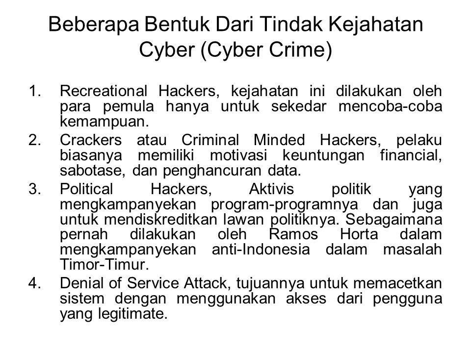 CYBER CRIME (KEJAHATAN CYBER) Cyber Crime merupakan salah satu dari aktivitas kriminal yang paling cepat tumbuh di dunia, dan aktivitas kriminal ini t
