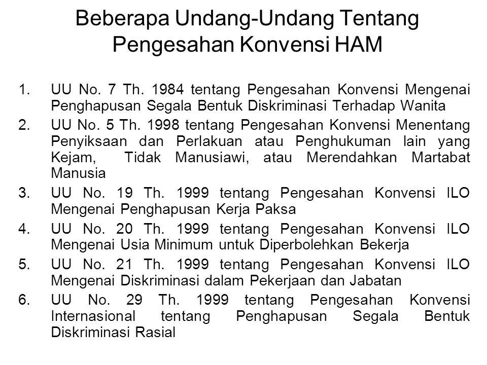 BEBERAPA PERATURAN PERUNDANG-UNDANGAN HAM DI INDONESIA 1.Kepres No. 53 Th. 1993 tentang Komisi Nasional HAM (Komnas HAM) 2.Tap MPR No. XVII/MPR/1998 3