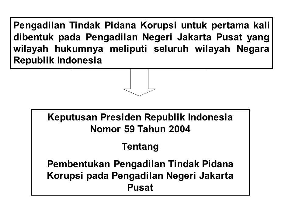 PENGADILAN TINDAK PIDANA K KORUPSI UU No. 30 Tahun 2000 Pengadilan Tindak Pidana Korupsi berada di lingkungan Peradilan Umum Majelis Hakim berjumlah 5