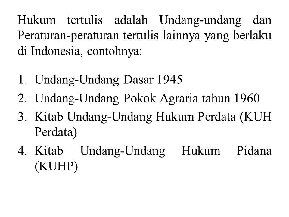 Hukum yang berlaku pada waktu tertentu dalam suatu wilayah negara tertentu disebut hukum positif (Ius Constitutum). Hukum Positif Indonesia terdiri da