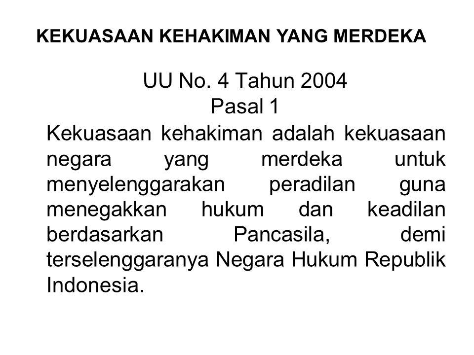 Kekuasaan kehakiman yang merdeka merupakan cita-cita dari negara hukum Indonesia guna menegakkan supremasi hukum di negara Indonesia. Selain itu lebih