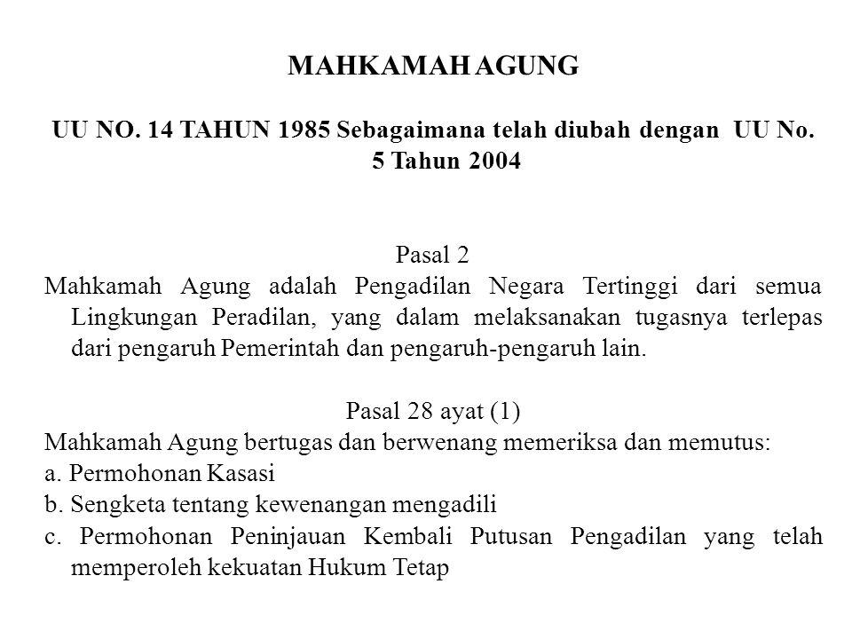 Ketentuan mengenai lembaga peradilan yang satu atap (One Roof System) UU No. 4 Tahun 2004 Pasal 13 (1) Organisasi, administrasi, dan finansial Mahkama