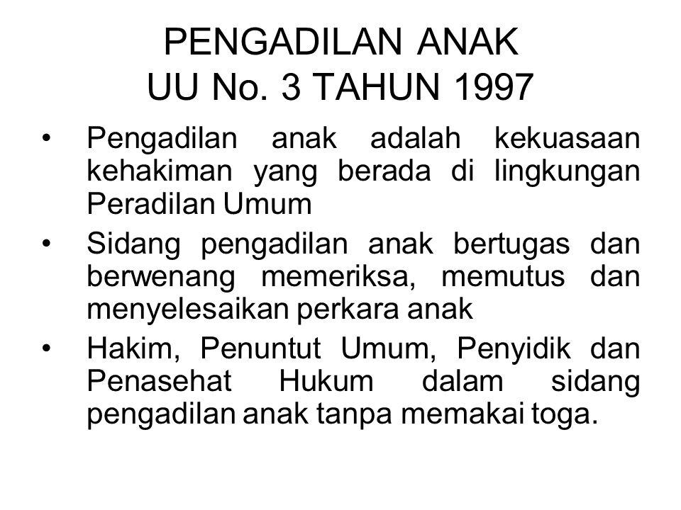 Ketentuan mengenai Pengadilan Khusus UU No. 4 Tahun 2004 Pasal 15 Pengadilan khusus hanya dapat dibentuk dalam salah satu lingkungan peradilan dan dia