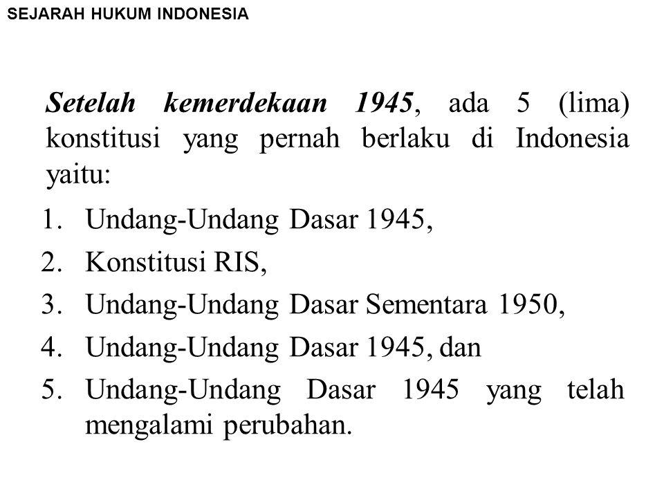 SEJARAH HUKUM INDONESIA Sebelum penjajah Belanda datang ke Indonesia, telah berlaku suatu hukum yang biasa disebut dengan hukum adat, dimana hukum ada