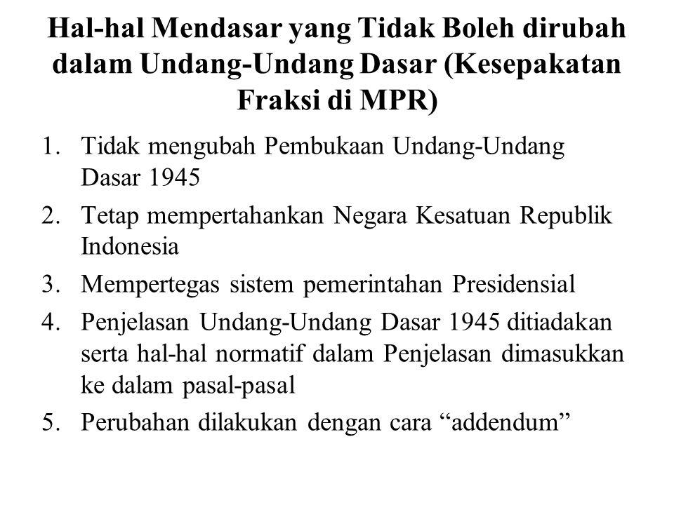 Setelah kemerdekaan 1945, ada 5 (lima) konstitusi yang pernah berlaku di Indonesia yaitu: 1.Undang-Undang Dasar 1945, 2.Konstitusi RIS, 3.Undang-Undan