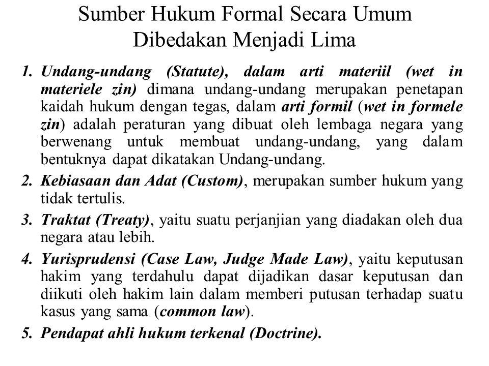 Sumber Hukum Indonesia Sumber hukum dasar nasional adalah Pancasila sebagaimana yang tertulis dalam Pembukaan Undang-Undang Dasar 1945, yaitu Ketuhana