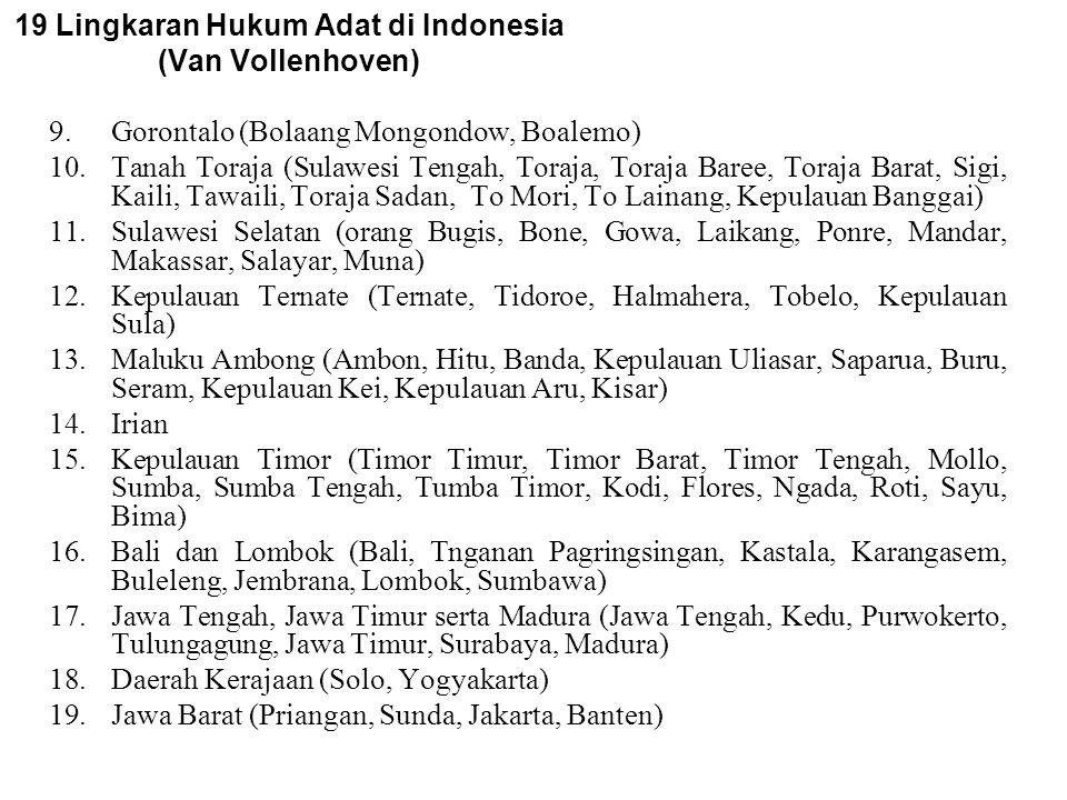 19 Lingkaran Hukum Adat di Indonesia (Van Vollenhoven) 1.Aceh (Aceh Besar, Pantai Barat, Singkel, Simeulue) 2.Tanah Gayo (Gayo Lueus), Tanah Alas dan