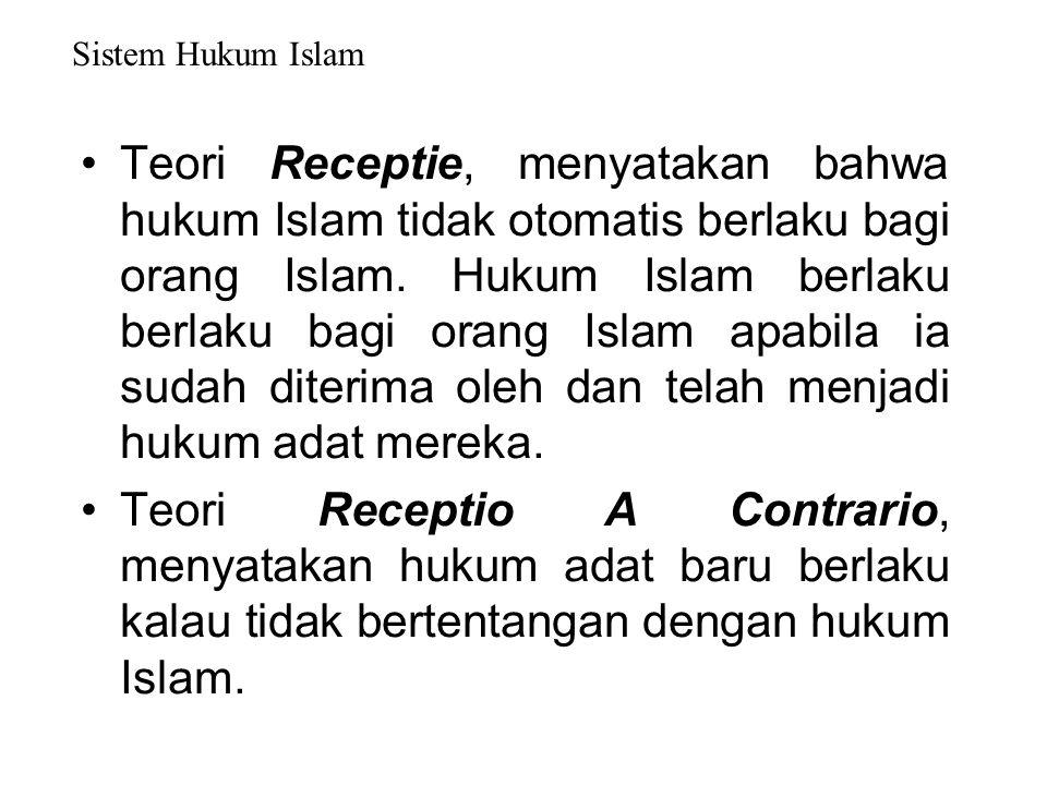 Teori-teori Berlakunya Hukum Islam di Masyarakat Teori Receptio in Complexu, mengatakan bahwa setiap penduduk berlaku hukum agamanya masing-masing. Pe