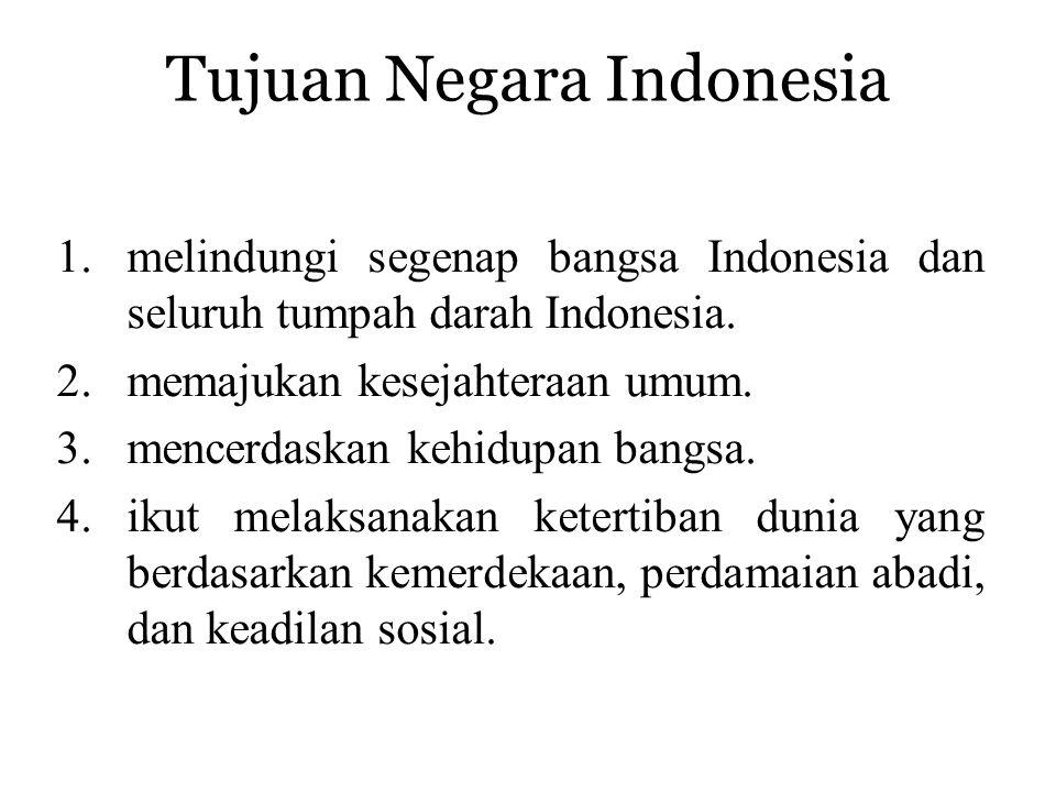Tujuan Negara Indonesia 1.melindungi segenap bangsa Indonesia dan seluruh tumpah darah Indonesia.