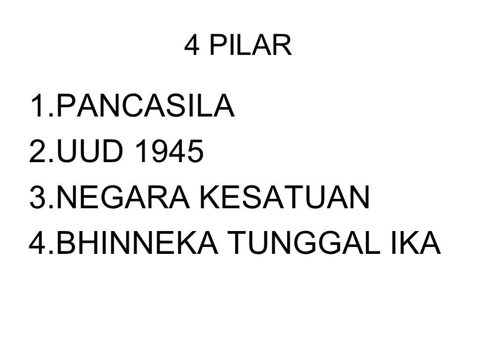 4 PILAR 1.PANCASILA 2.UUD 1945 3.NEGARA KESATUAN 4.BHINNEKA TUNGGAL IKA