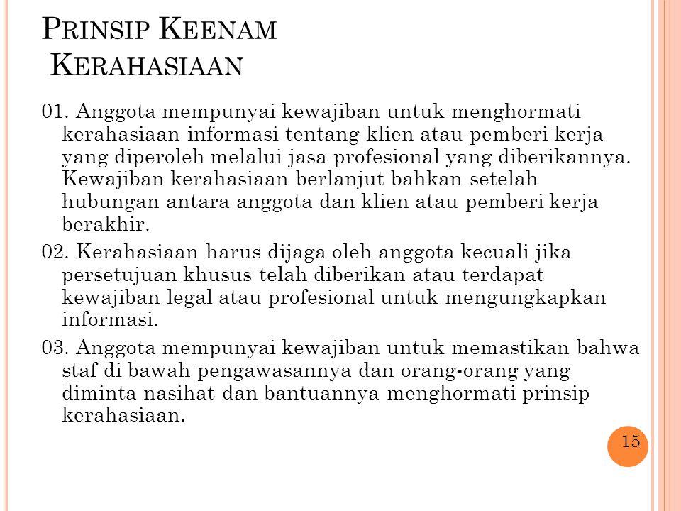 P RINSIP K EENAM K ERAHASIAAN 01. Anggota mempunyai kewajiban untuk menghormati kerahasiaan informasi tentang klien atau pemberi kerja yang diperoleh