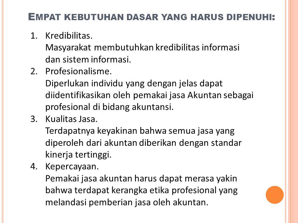 1. E MPAT KEBUTUHAN DASAR YANG HARUS DIPENUHI : 1.Kredibilitas. Masyarakat membutuhkan kredibilitas informasi dan sistem informasi. 2.Profesionalisme.