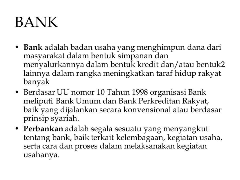 BANK Bank adalah badan usaha yang menghimpun dana dari masyarakat dalam bentuk simpanan dan menyalurkannya dalam bentuk kredit dan/atau bentuk2 lainny