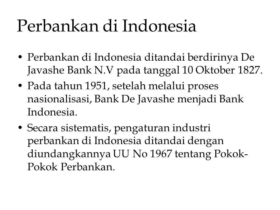 Perbankan di Indonesia Perbankan di Indonesia ditandai berdirinya De Javashe Bank N.V pada tanggal 10 Oktober 1827. Pada tahun 1951, setelah melalui p