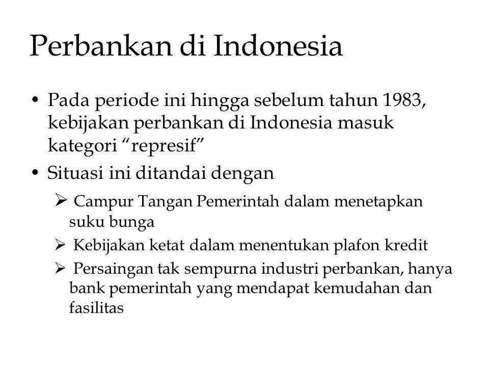 """Perbankan di Indonesia Pada periode ini hingga sebelum tahun 1983, kebijakan perbankan di Indonesia masuk kategori """"represif"""" Situasi ini ditandai den"""