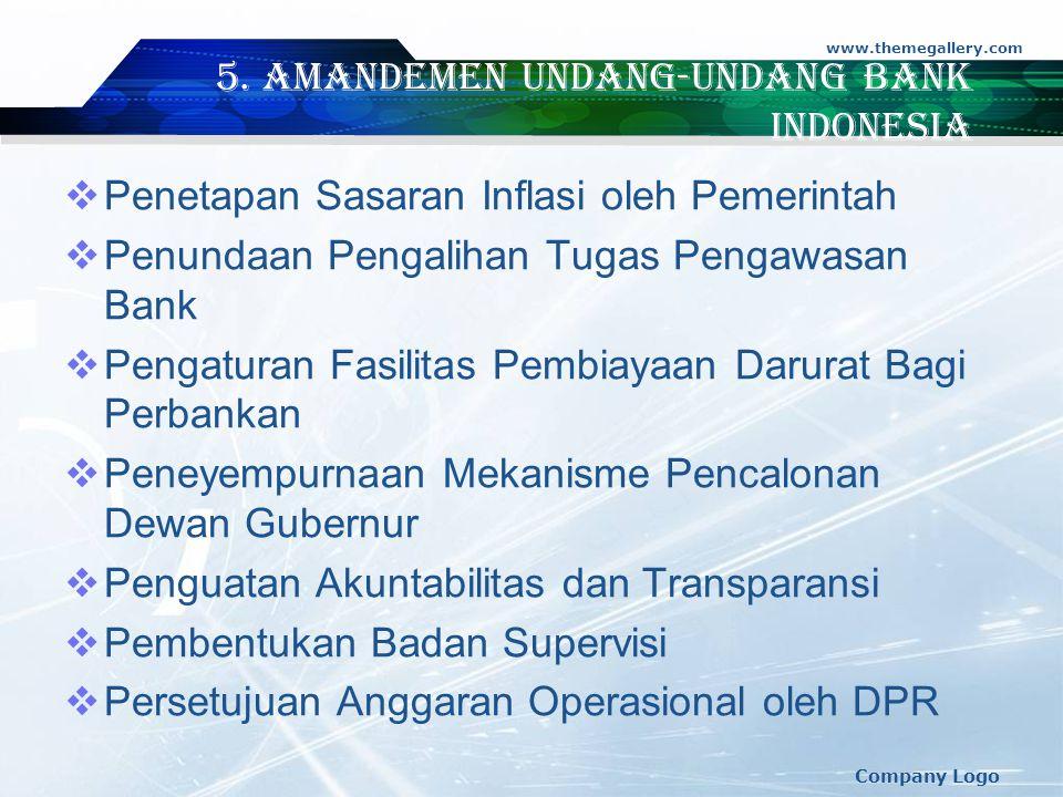 www.themegallery.com Company Logo 5. Amandemen Undang-Undang Bank indonesia  Penetapan Sasaran Inflasi oleh Pemerintah  Penundaan Pengalihan Tugas P