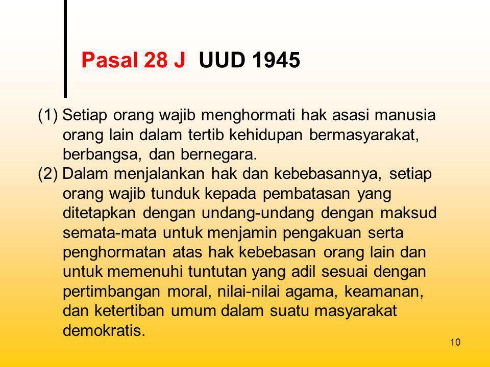 11 (1) Setiap orang bebas memeluk agamanya masing- masing dan untuk beribadat menurut agamanya dan kepercayaannya itu.